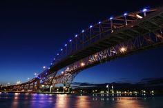 Bluewater Bridge, Sarnia, Ontario, Canada - two bridges that span the St. Clair River, linking Port Huron, Michigan, USA to Sarnia, by ivy
