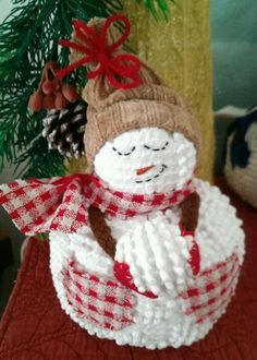 """""""Country Snow"""" Snowman from The Cranberry Smuggler on eBay! Handmade Vintage White Chenille Hobnail Bedspread Snowman Christmas Decoration"""