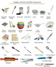 Kitchen utensils equipment and gadgets vocabulary - Kids Names - Ideas fo Kids Names - kitchen gadgets and utensils. Learning the vocabulary for kitchen utensils equipment and gadgets using pictures. English Tips, English Class, English Words, English Lessons, English Grammar, Teaching English, Learn English, English Language, English Course