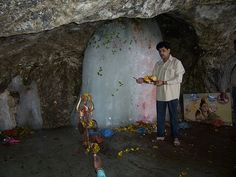 The Amarnath cave Siva Lingam in a remote part of the Himalayas. Every year thousands of pilgrims trek many miles to receive the darshan of Siva in this form. Om Namah Shivaya.