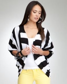 bebe Stripe Knit Cardigan