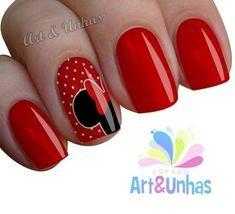 25 Ideas nails shellac disney for 2019 Mickey Mouse Nail Art, Minnie Mouse Nails, Mickey Nails, Disney Nail Designs, Nail Art Designs, Shellac Nails, Red Nails, Disney Christmas Nails, Disneyland Nails