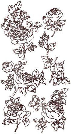 Advanced Embroidery Designs - Redwork Rose Set