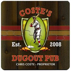 Baseball Dugout Pub Personalized Drink Coasters Puzzle Set. Idle hands do the devil's work. That's why we offer these unique custom coaster sets that double as both surface protectors and a miniature puzzle to provide endless hours of entertainment. Personalized Baseball Dugout coaster sets include a place for two lines of text plus established year worked into a wide variety of full-color designs. These coasters are made to look like they came straight from the neighborhood pub, so