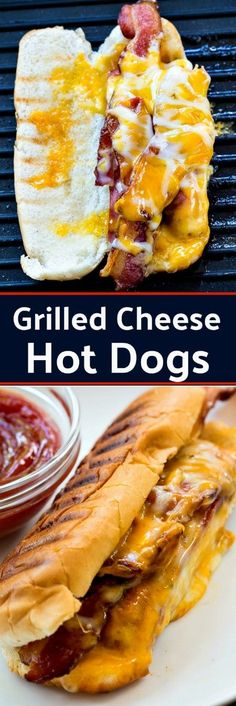 Grilled Cheese Hot Dogs with Bacon