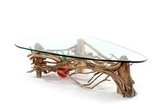 Driftwood Coffee Table. Beautifully crafted Atlantic Driftwood table with thick kidney shaped glass top.