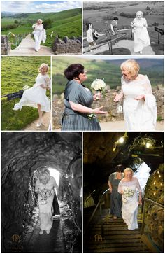The Bride ascends the hill to her wedding in a Castleton Cavern