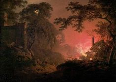 Cottage on Fire by Joseph Wright of Derby