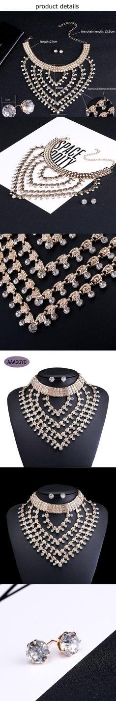 Guoyi Jewelry set 6 layers Rhinestone Jewelry Set Wedding jewelry accessories Ms. collar necklace jewelry Big Rhinestone AA008