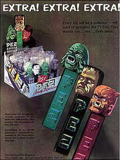 Thing I love: vintage pez advertisements. I'm Pez-ative that's a mistake. Retro Halloween, Spooky Halloween, Happy Halloween, Halloween Decorations, Halloween Toys, Halloween Ideas, Retro Horror, Vintage Horror, Vintage Candy