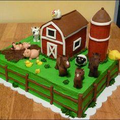 Creative Picture of Farm Birthday Cake . Farm Birthday Cake Farm Birthday Cake Old Mcdonald Had A Farm Cake Brents Bday Farm Birthday Cakes, Animal Birthday Cakes, Farm Animal Birthday, 2nd Birthday, Birthday Parties, Birthday Ideas, Birthday Banners, Birthday Invitations, Farm Animal Cakes