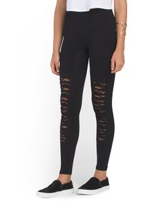 Juniors Legging With Lace And Slashes
