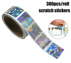 Gorei Scratch Off Stickers 300 Pieces, Laser Color Scratch Sticker Labels Package Sticker Glitter Colorful Scratch Off, Gift List, Hologram, Stationery, Stickers, Diamond, Silver, Color, Metallic