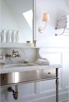 this shelf built into vanity top situation