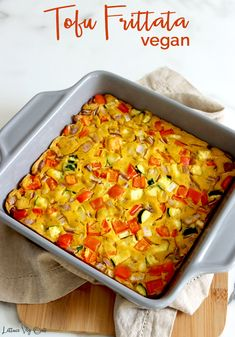 This easy vegan frittata recipe is made with tofu, creating a delicious texture and protein-packed option to meal prep for a nutritious vegan breakfast, lunch or dinner! It's gluten free and loaded with tasty veggies! #Vegan #VeganRecipe #VeganEgg #Eggless #EggFree #Frittata #Vegetables #Veggie #Tofu #TofuRecipe #Zucchini #RedOnion #BellPepper #VeganMeal #VeganMealPrep #VeganProtein #Vegetarian #PlantBased #PlantBasedProtein #VeganBreakfast #VeganLunch #VeganDinner