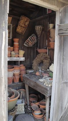 Inside the Potting Shed. I like this picture. I have a penchant for Terra Cotta anything! A wide collection of flower pots especially. Greenhouse Shed, Garden Tool Shed, Garden Pots, Garden Sheds, Garden Houses, Garden Shed Interiors, Potting Station, Shed With Porch, Potting Tables