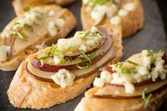 Sioux Falls Catering Appetizers - @Chef Jeni Carmelized Onion Pear and Gorgonzola Crostini - photography by @Cory Ann Ellis