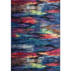 Rectangular rug with vibrant watercolor pattern