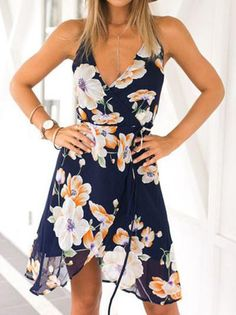 Blue Floral Print Chiffon Spring Summer Dress