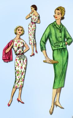 1950s Vintage Simplicity Sewing Pattern 2369 Uncut Misses Dress and Jacket 32B