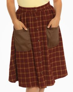 'Adalene' Red Check Swing Skirt - Skirts - Bottoms - Clothing