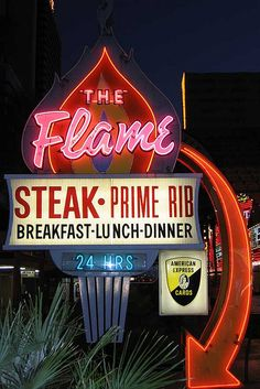 The Flame Neon Sign Las Vegas Old Neon Signs, Vintage Neon Signs, Neon Light Signs, Old Signs, Advertising Signs, Vintage Advertisements, Love Neon Sign, Retro, Neon Nights