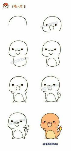 pokemon 宝贝 画 一 组 神奇 宝贝 喷火 宝贝 喷火 基质 基质 的 的 的 的 的 的 的, Kawaii Drawings, Doodle Drawings, Animal Drawings, Easy Drawings, Doodle Art, Drawing Sketches, Easy Pokemon Drawings, Sketching, Kawaii Doodles