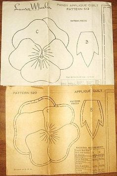 Vintage Pansy Applique Quilt Patterns - Lot of Two Circa 1940s Mail Order Patterns - Laura Wheeler 513, Mail Order 520 - Uncut