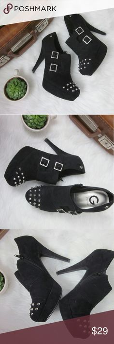 """Platform Stud Heeled Booties 10M Excellent condition. Gently worn - no flaws to textile upper. Hardly any wear to bottom outsole. 5"""" heel with 1"""" platform.  Bundle for best deals! Hundreds of items available for discounted bundles! You can get lots of items for a low price and one shipping fee!  Follow on IG: @the.junk.drawer Guess Shoes Ankle Boots & Booties"""