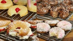 Recipe with video instructions: Enjoy double chocolate, disco glitter, strawberry shortcake and pineapple upside-down cake doughnuts! Ingredients: Doughnut Batter Base:, 1/3 cup + 1 tbsp buttermilk, 3 tbsp unsalted butter, melted, 1 cup all-purpose flour, 1 tsp baking powder, ¼ tsp salt, ¼ cup sugar, 2 tbsp honey, 1 large egg, ½ tsp vanilla extract, Triple Chocolate Doughnuts:, 2 tbsp cocoa powder, 3 tbsp whipping cream, 1 cup confectioner's sugar, 2 tbsp cocoa powder, mini chocolate chi...