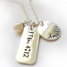 1 Timothy 4:12 Tag with Name Disc and Mother of Pearl -- ChristianGiftsPlace.com Online Store