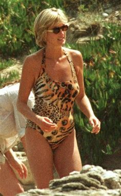 Diana - JULY 14 1997 - Diana wearing her leopard print one-piece while on holiday in Saint-Tropez.
