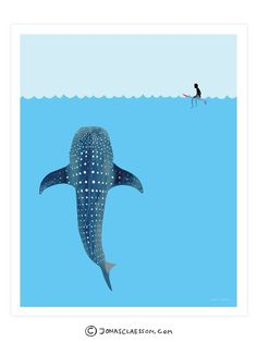 Whale Shark Art Print. Gallery quality Giclee print on natural white, matte, ultra smooth, 100% cotton rag, acid and lignin free archival paper (250 gsm weight) using Epson K3 archival inks. Depending