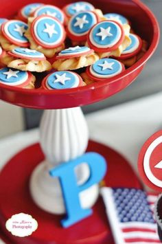 Fondant Cookie Toppers I made for my son's Captain America Super Hero Birthday Party. The blog post tells you how to find me to order your own!