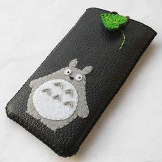 totoro iphone 5 leather mix felt sleeve