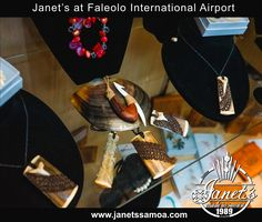 Janet's is proud to present Tufuga Beau Master Collection of Pendants and Carvings at Faleolo Airport, Samoa