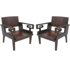 "2 Pairs of French 40's Modern Neoclassical ""Greek Key""  Armchairs 