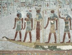 The Sun Boat (sun barque of Ra) through the underworld, from the Tomb of Ramesses III. Valley of the Kings, West Thebes.