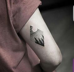Diamond evergreen tree tricep tattoo