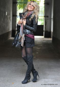 Fall - Fashion - Motorcycle leather jacket, scarf, shorts, tights, knee high heel boots