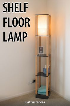 Make a stylish floor lamp that also functions as a shelf. Make a stylish floor lamp that also functions as a shelf. Diy Floor Lamp, Floor Lamp With Shelves, Floor Shelf, Classic Furniture, Cool Furniture, Furniture Design, Antique Furniture, Shelf Furniture, Furniture Logo