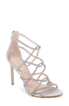 online shopping for Jewel Badgley Mischka Delancey Crystal Embellished Cage Sandal (Women) from top store. See new offer for Jewel Badgley Mischka Delancey Crystal Embellished Cage Sandal (Women) Caged Sandals, Strappy Heels, Stiletto Heels, Shoes Heels, Satin Wedding Shoes, Designer Wedding Shoes, Best Bridal Shoes, Bridal Heels, Rose Gold Shoes
