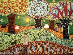 Prairie 24x18 Canvas PAINTING FOLK ART Dog Birds Girl Sheep Trees ORIGINAL Karla