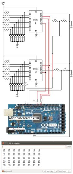 Circuit to Connect 16 LDRs to 5 Digital Pins of Arduino Mega  Read more at :  http://www.haberocean.com/2014/12/connect-16-light-dependent-resistors-to-5-digital-pins-of-arduino-mega-using-two-74165-ics-part-1/