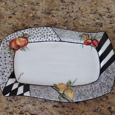 Porcelana pintada à mão: Frutas e canetado