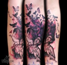 Screaming Girl with Birds and Butterflies Flying Out of Her Hair Tattoo by Nasa   #tattoo #tattooartist #bodyart #nyctattoo #cooltattoos