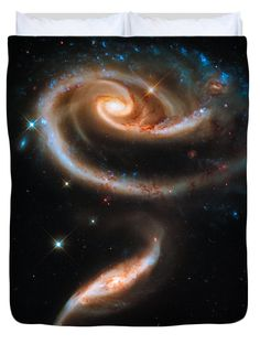 Duvet cover / bedding: Space image, a rose made of galaxies.  Available in king, queen, full, and twin. Our soft microfiber duvet covers are hand sewn and include a hidden zipper for easy washing and assembly. All duvet covers are machine washable with cold water and a mild detergent. Image credit: NASA, ESA and the Hubble Heritage Team (STScI/AURA), Edit Matthias Hauser hauserfoto.com