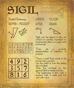 SIGILS Symbols for the Work, creation  use Whilst creating the sigil and when graving it where it is required, concentrate upon the end for which it is being formed Visualize energy which pours into the image as it is created……click on pic for larger version.  by ~Sandgroan
