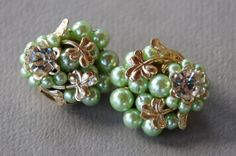 Vintage Shamrock Clip Earrings Japan Mint Green Beaded Cluster Gold Tone Lucky Clover Saint Patrick's Day Jewelry 1950's // Costume Jewelry
