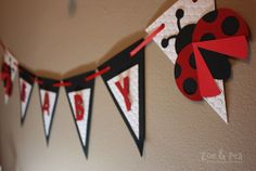 Ladybug baby shower banner made to order by ZoeandPeaEventDecor, $25.00
